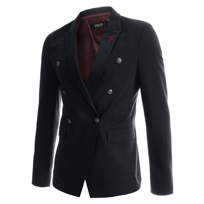 2015 New Arrival Men Blazer Masculino Casual Jackets Slim Fit Mens Personality Suit Jacket Double Breasted Blazers 13M0152Одежда и ак�е��уары<br><br><br>Aliexpress