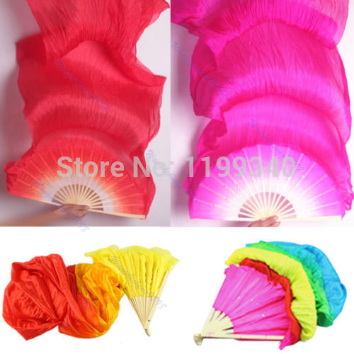 A25 2015 hot-selling Hot Hand Made Colorful Belly Dance Dancing Silk Bamboo Long Fans Veils 4 Colors free shipping(China (Mainland))