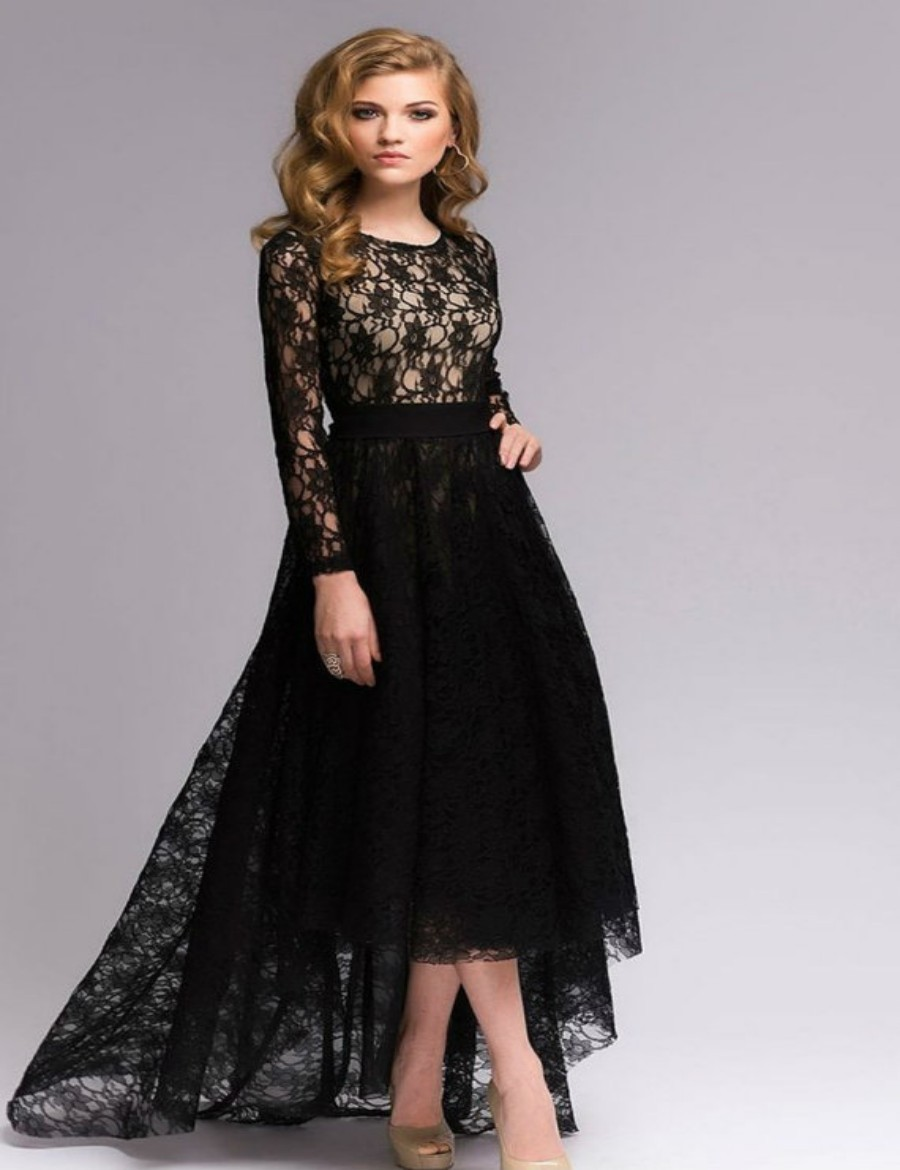 Vintage lace long sleeve wedding dress a line front short for Black long sleeve wedding dresses