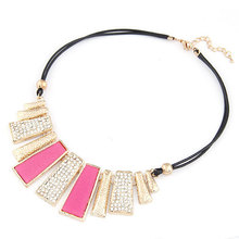 Colar Fashion Statement Necklace for Women 2014 2015 Fine Jewelry Leather Collar Necklaces Pendants Collier Mujer