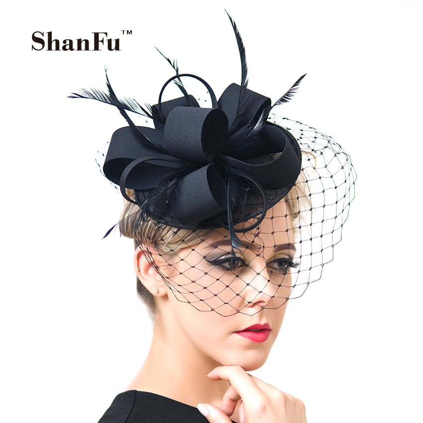 ShanFu Women Fancy Feather Fascinator Hats Black Birdcage Veil Wedding Hats and Fascinators White Net Hair Accessories SFC12517(China (Mainland))