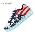 New Hot 2017 Luminous Shoes Unisex Led glow Men Wamen American Flag USB Rechargeable Light Led