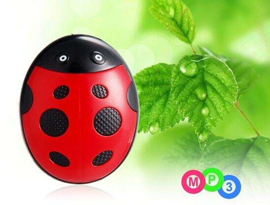 Ladybug Design MP3 Player with TF Card Reader Red Free Shipping(China (Mainland))
