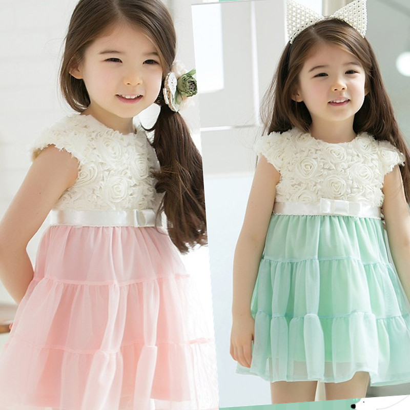 New Come Manufactory Direct Selling Girls Roses Vest Dresses Children Clothing Dresses 2 Colors 5pcs a Lot Fast Free Shipping