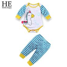 Hello Enjoy Clothing Set Baby Rompers 2016 cartoon cotton children baby boys girls clothes 2 pcs/set(Long-sleeved Romper+pants)(China (Mainland))