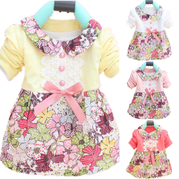 Toddler Baby Girls Floral Princess Dress Bow One Piece Kids Dress 0-2Y(China (Mainland))