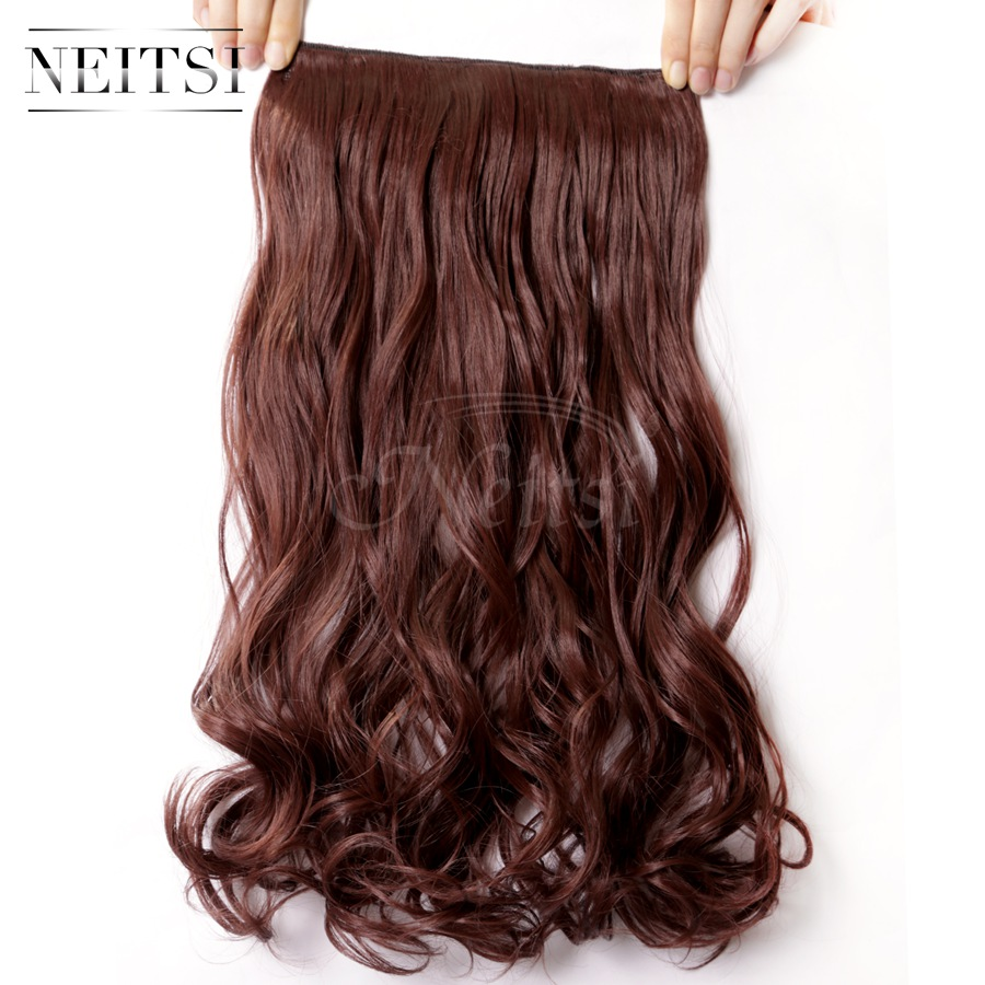 """Neitsi 1PC 107g 22"""" 33# Dark Auburn 5Clips Kanekalon Synthetic Braiding Hair Pieces Clip In Hair Curly Wavy Weave Extensions(China (Mainland))"""