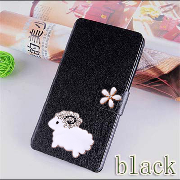 Hot Selling Luxury Leather Flip Cover Case For Samsung Omnia M S7530 Mobile Phone Bag with lovely sheep & Free Shipping(China (Mainland))