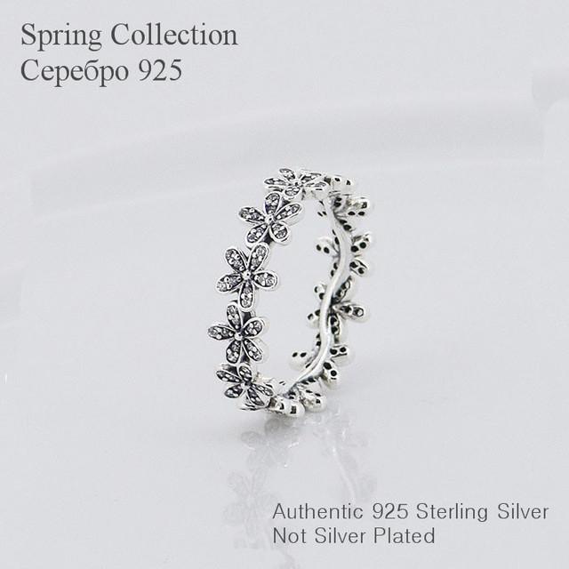 Чистый 925-Sterling-Silver дэйзи цветок CZ камни кольца для женщин сделай сам мода аксессуары и украшения 925 кольцо оптовая продажа