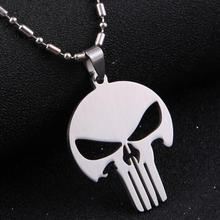 2015 new men jewelry 316L stainless steel MARVEL SKULL The PUNISHER batman silver leather Pendant Necklace