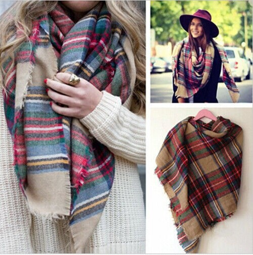 HOT Bloggers Favor Soft Large Tartan Checked Plaid Blanket Scarf Wrap Shawl Cape 1pcs(China (Mainland))