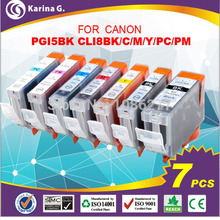 7PK New ink pack set for PGI-5BK CLI-8BK/C/M/Y/PM/PC with chip for canon PIXMA iP6600D,iP6700D,MP950,MP960 printer free shipping