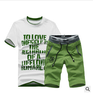 New 2015 Summer Plus Size Round Neck T-shirt Shirt 5 Knee-length Pants Sports Pants Shorts Male Sports Set Free shipping(China (Mainland))