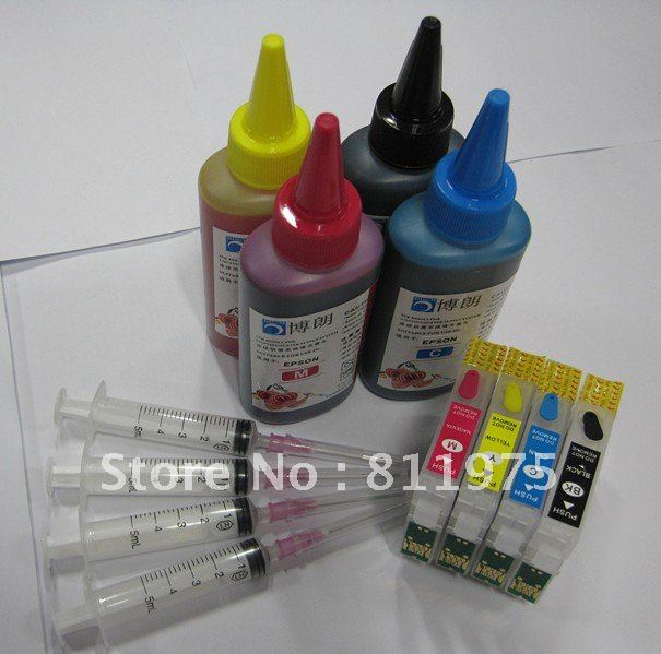 Free Shipping T0711-T0714 refillable ink cartridge+4 Color ink for epson SX510W SX20 SX200 SX400 SX205 SX209 SX600FW B40W SX215