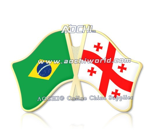 Best Selling Mix and Match Brazil and Georgia Crossed Flags Lapel Pins(China (Mainland))