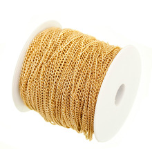 100m/lot in Bulk Gold Plated Cable Chain Findings for Necklace Bracelets Jewelry Making