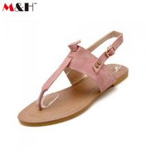 M&H Brand 2016 New Summer Large Big Plus Size Women Sandals Flat Back Strap Ankle Wrap Buckle Sandals Soft Leather Flip Flops