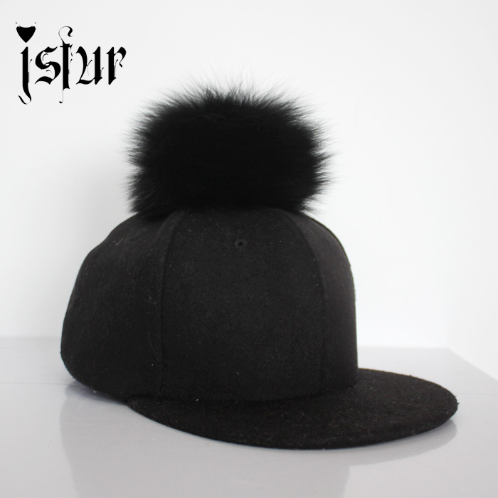 Fall 2016 3 Colors Casquette Baseball Caps With Real Fox Fur Pompom Round and Fluffy Stylish Trucker Cap for Men and Women(China (Mainland))