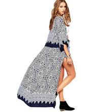 2016 New Summer Geometric Printed 3/4 Sleeve Long Women Chiffon Blouse Ladies Loose Maxi Kimono Cardigan Outwear(China (Mainland))