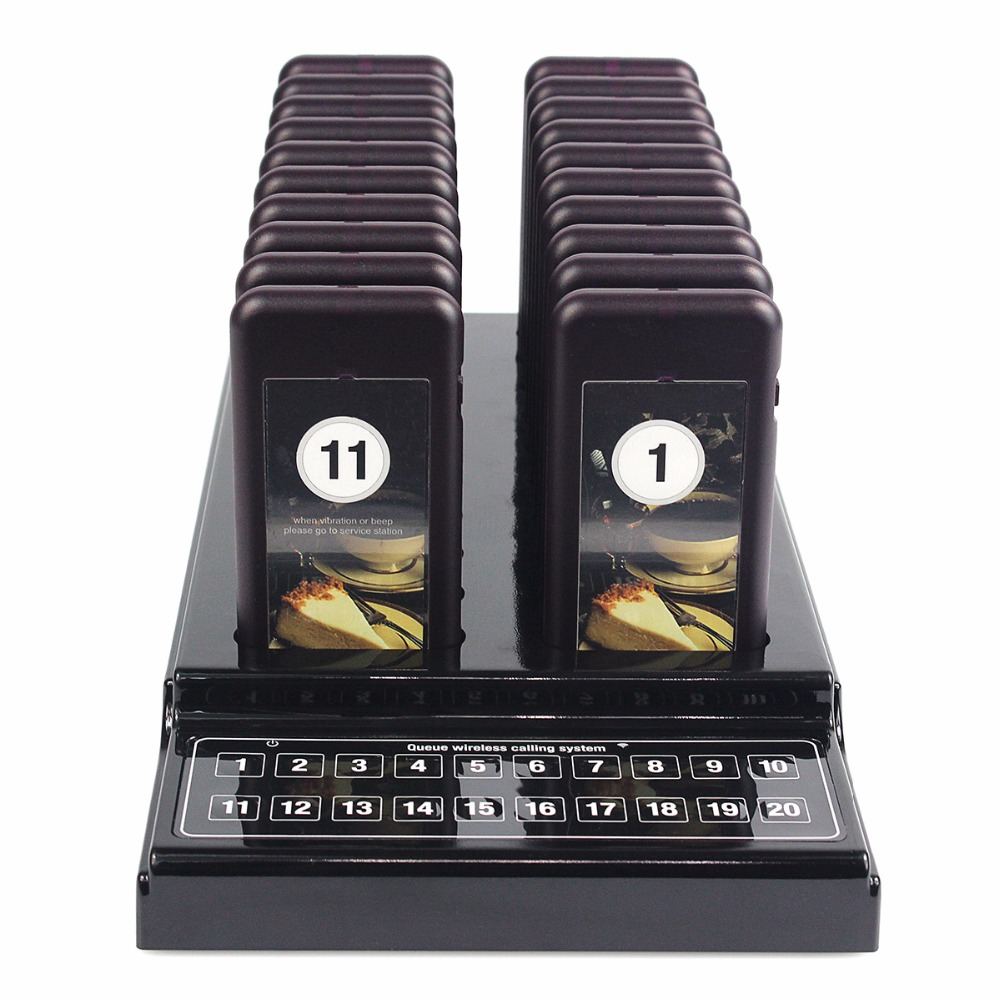 20 Restaurant Pager Coaster Call Wireless Paging Queuing System with Rechargeable Battery F4412(China (Mainland))