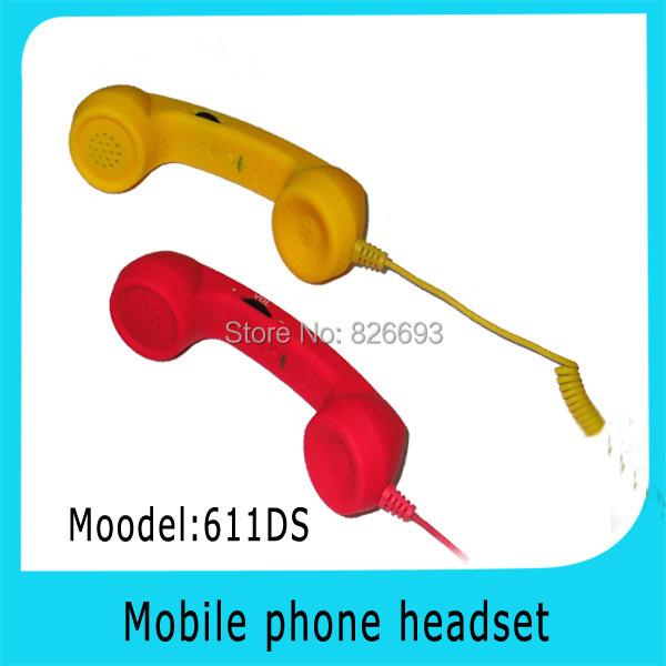 611DS Free Shipping! mini pop retro volume control anti-radiation mobile phone handset headset