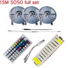 Full set 15M 5050 RGB LED Strip Lights 450leds SMD  Lamps + 44 KEYS IR Remote Controller+12V 78w power warm white cool white(China (Mainland))