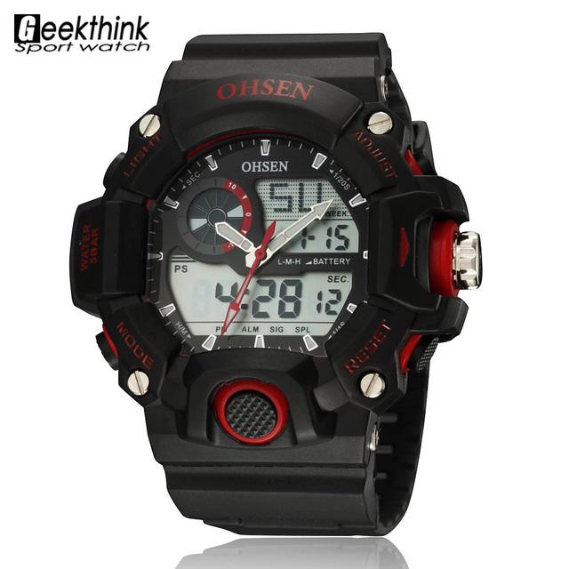 Бренд погружение жк кварцевые цифровые спортивные часы мужские платья военная наручные часы водонепроницаемый Relogio Masculino мужской Ohsen красный резиновый