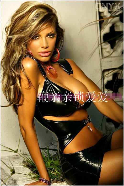Wild sexy lingerie sexy black leather suit pole dancing nightclub queen patent leather corset dress(China (Mainland))