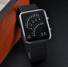 Reloj Digital LED rojo y azul claro opcional moda para mujeres hombres relojes de los deportes metro del coche Dial reloj de pulsera