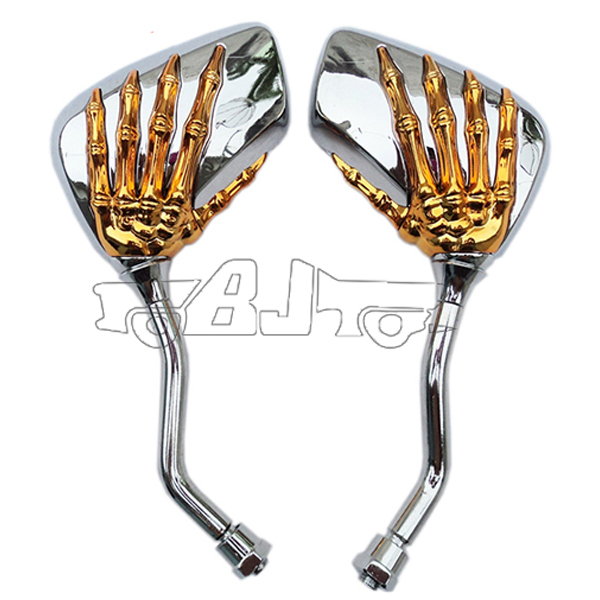 Chrome and Golden color Rearview mirror New style 8mm&10mm Universal Motorcycle Mirrors Rearview Mirror Skull Claw(China (Mainland))