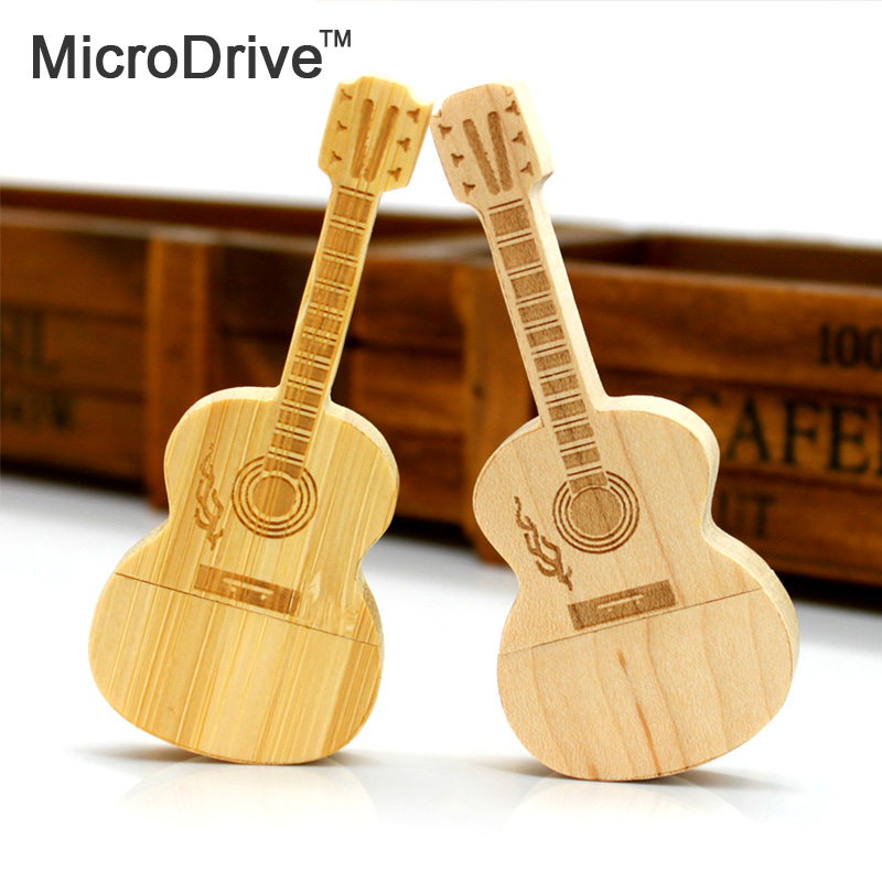 Exquisite wooden Guitar USB Flash Drive Pen 8GB 16GB 32GB 64GB Wood colors Musical Instrument Flash Memory Sticks the best gift(China (Mainland))