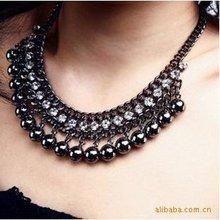 10pcs/lot Alloy Rhinestone Black Ball Charm Necklace Collar Jewelry,Choker Collar,Choker Necklace(China (Mainland))