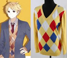 kyokai no kanata Kanbara Akihito cosplay anime yellow hedging long-sleeved cotton knit sweater(China (Mainland))