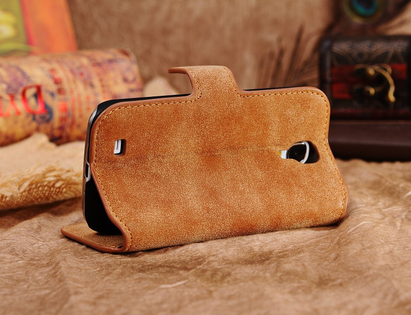 Vintage matte genuine leather Wallet Flip Book Card Holder phone case cover Samsung galaxy s4 i9500 - Boutique Phone Case Store store