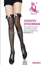 Fashion sexy women fancy stocking bowknot stockings silk stocking stripe lace stockings high quality stockings