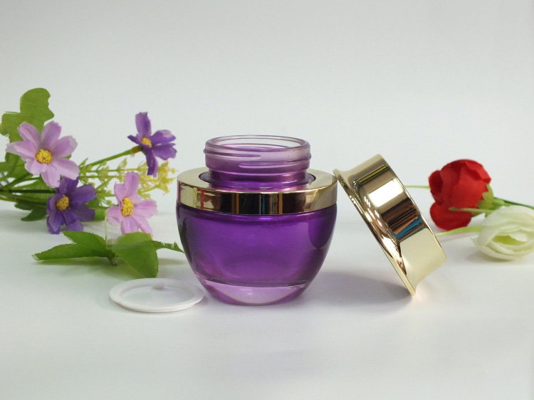 100pcs wholesale 50g pruple glass jars for sale with golden lid ,wholesale glass cream jar ,50 g glass jar containers wholesale(China (Mainland))