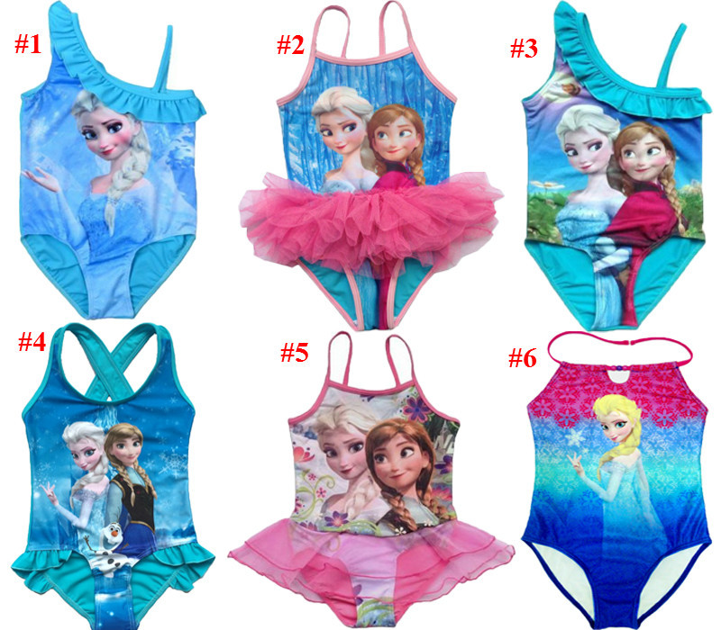 Гаджет  2015 Kids Swimsuit 3-10Y Girls Elsa Swim Costume Anna Swimwear Children Sunbath Beachwear Bikini Bathing Suits For Girls None Детские товары