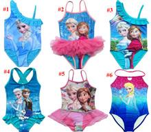 2015 Kids Swimsuit 3-10Y Girls Elsa Swim Costume Anna Swimwear Children Sunbath Beachwear Bikini Bathing Suits For Girls