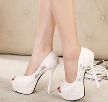 Women Pumps 2015 Fashion Lace Peep Toe High Heels Ladies Wedding Shoes Platform White Party Shoes Female Sapatos Femininos