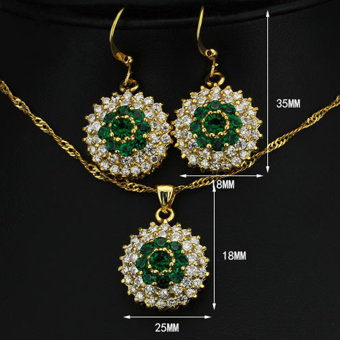 Women selling luxury green crystal necklace / pendant Set JS100340(China (Mainland))