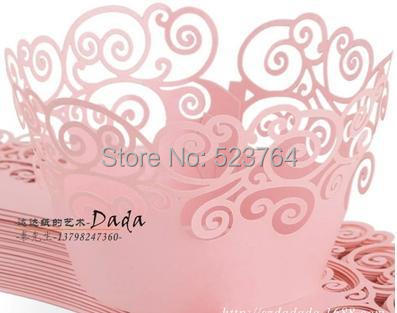 Pink ,white ,Black Swirl Heart laser cut Cupcake Wrapper baking wraps for wedding favor decorations(China (Mainland))