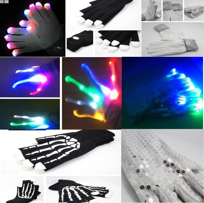 wholesale free shipping LED shinning magic gloves Gloves Light Finger Glow Flashing novelty items dancing toy gift(China (Mainland))