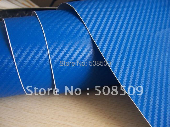 Blue Backside 3d Carbon Fiber Vinyl Wrap With Air Free Bubbles PVC Material Free Shipping(China (Mainland))