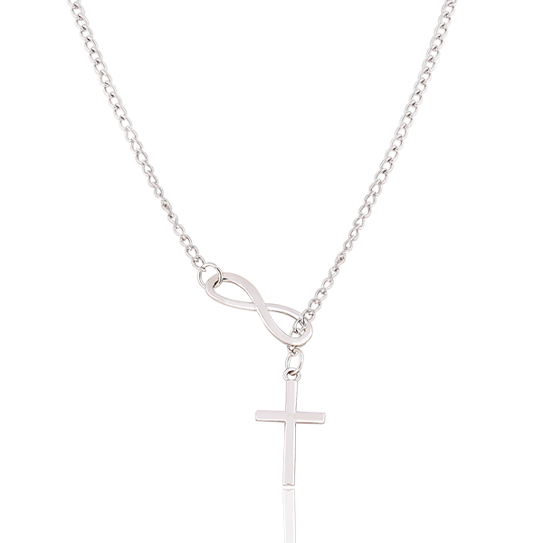 New Fashion Luxury Plating Silver Chain Necklace Cross Infinity Pendants Statement long necklace jewelry for women 2014 M13(China (Mainland))