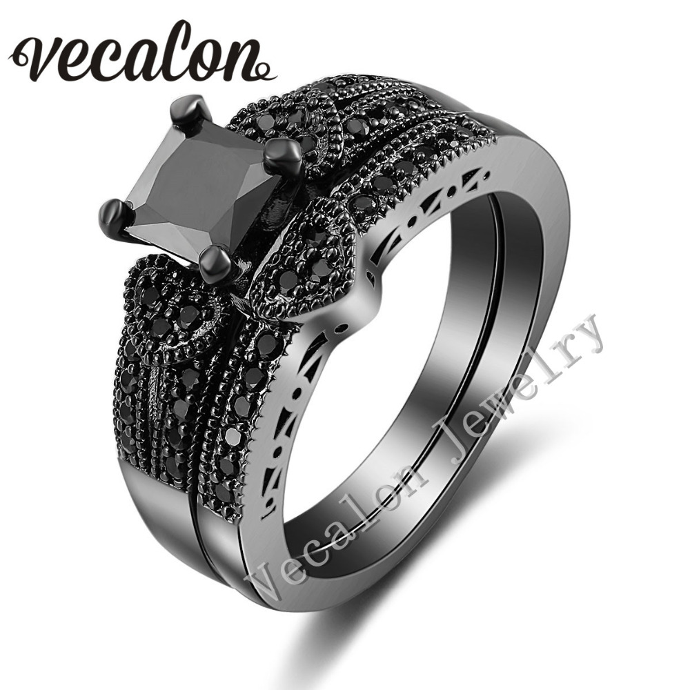 Vecalon Heart Jewelry Women Engagement Wedding Band Ring Set 2ct Simulated Black diamond Cz 10KT Gold Filled Party Accessories(China (Mainland))