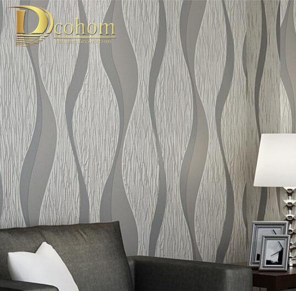 Living room Sofa White Grey Stripes Wall Paper 3D Design Modern Home Decor Paper Wall Geometric Striped Wallpaper Roll R509(China (Mainland))
