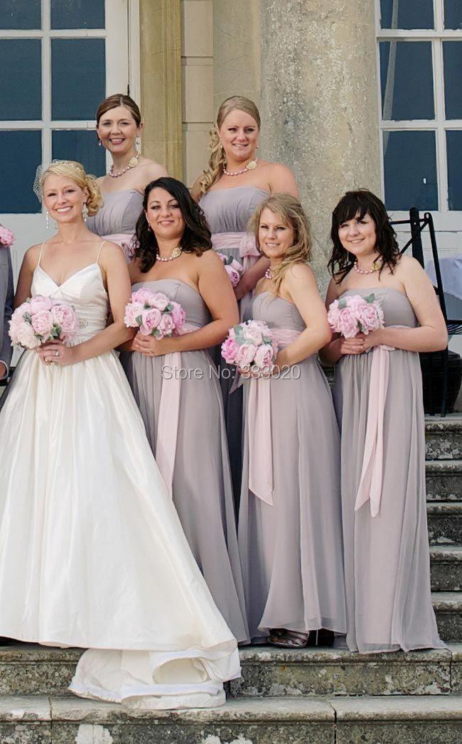 Blush And Silver Bridesmaid Dresses