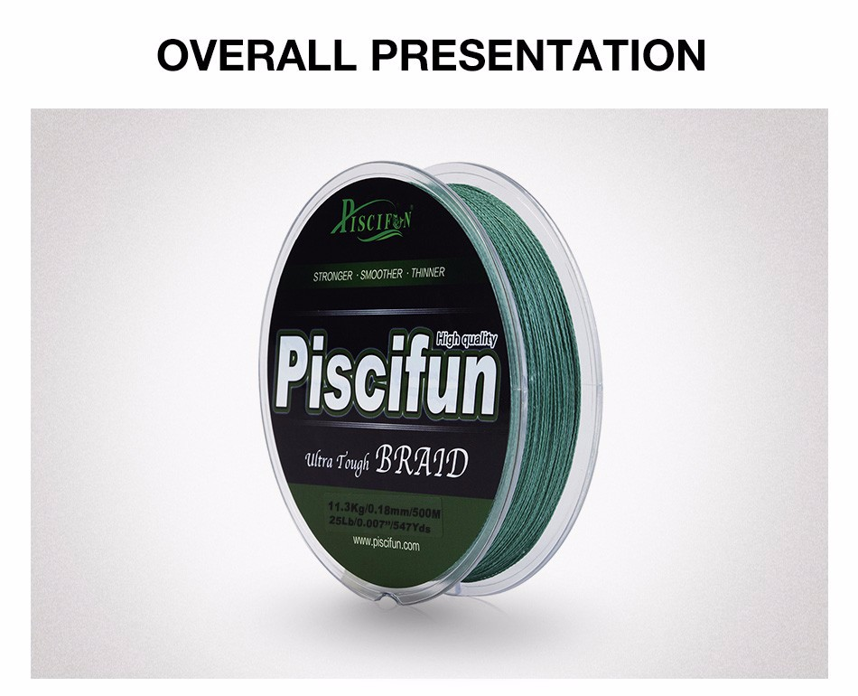 Piscifun 500M PE Braided Fishing Line 10lb 20lb 25lb 30lb 40lb 45lb 50lb 60lb 80lb Multifilament Fishing Line
