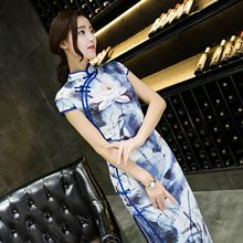 Buy Long Style Women's Satin Cheongsam Traditional Chinese Qipao Elegant Slim Dress Vestidos Size S M L XL XXL XXXL 246082 for $38.88 in AliExpress store