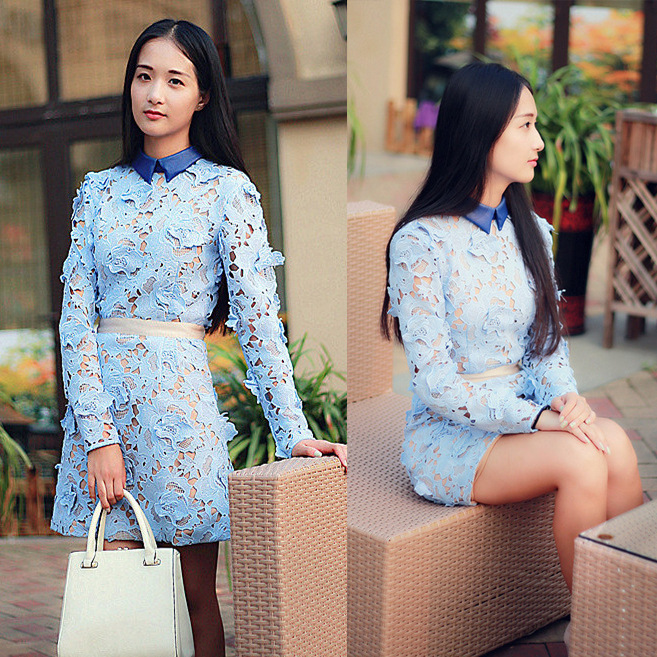 Exclusive 2014 Genuine Self portrait Brand Dress Women Elegant Sky Blue Heavy Lace 3D Embroidery Lace long-sleeved DressÎäåæäà è àêñåññóàðû<br><br>